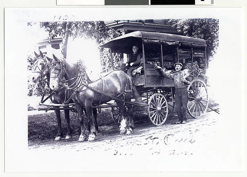Fruit peddlers with draft horses and covered wagon, St. Paul (4418715023).jpg