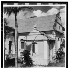 GENERAL VIEW FROM THE WEST OF SOUTHEAST GABLE AND SACRISTY - Christiansted Lutheran Church, 4 King Street, Christiansted, St. Croix, VI HABS VI,1-CHRIS,37-2.tif