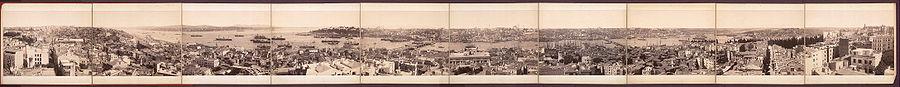 Galata Kulesi'nden çekilen 10 parça fotoğraf  yan yana getirilerek oluşturulmuş, döneme has panoramik bir görüntü.