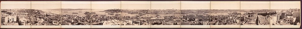 A panoramic view of Ottoman era Istanbul from Galata Tower in the 19th century (image with notes)