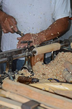 Lathe - Craftsman Gregorio Vara working a chair leg on a lathe in Tenancingo, State of Mexico