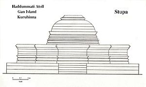 History of the Maldives - The Buddhist Stupa at Kuruhinna in Gan Island (Haddhunmathi Atoll). Western Side