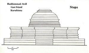 History of the Maldives - The Buddhist Stupa at Kuruhinna in Gan Island (Haddhunmathi Atoll). Western Side