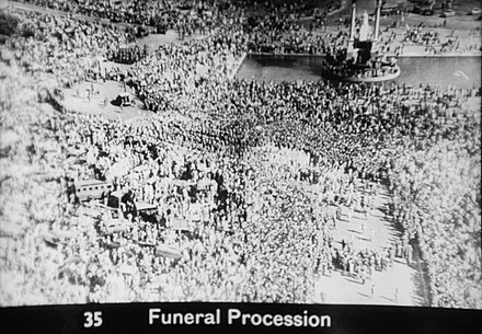 Gandhi's funeral was marked by millions of Indians. Gandhi funeral.jpg