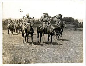 Indian Cavalry Corps - Lt. Gen. Rimington, commander of the Indian Cavalry Corps, riding with Sajjan Singh, the Maharaja of Ratlam, and Sir Partab Singh. Linghem, France, 28 July 1915