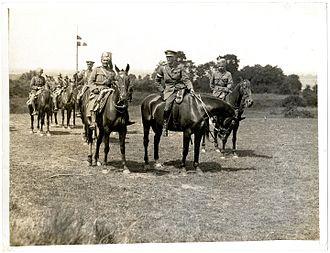 1st Indian Cavalry Division - Lt. Gen. Rimington, commander of the 1st Indian Cavalry Division, and later of the Indian Cavalry Corps, riding with Sajjan Singh, the Maharaja of Ratlam, and Sir Partab Singh. Linghem, France, 28 July 1915