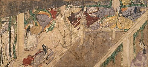 A courtyard with en on the left and rear sides, a low sitting-height rail on the left side only, and sudare (bamboo roller blinds) flush to the right side; in the court, a single pink-flowering tree