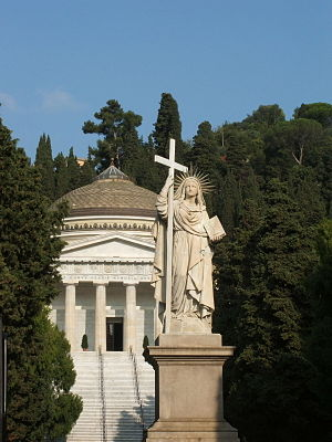 Monumental Cemetery of Staglieno - The 9m high statue of Faith with the Pantheon behind