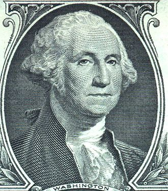 Legacy of George Washington - The image of George Washington appears in numerous forms, found on currency (shown here on the $1 bill), statues, monuments, postage and in textbooks.