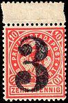 Germany Stuttgart 1888 local stamp 3pf on 10pf - 10 unused.jpg