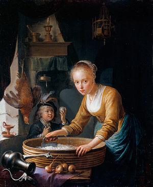 Gerrit Dou - Girl Chopping Onions, 1646
