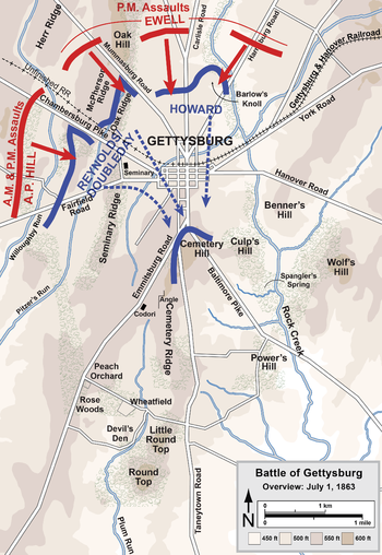 Battle Of Gettysburg Wikipedia - Us map of civil war battles