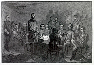 Pennsylvania in the American Civil War - Engraving by James E. Kelly of George G. Meade and the Council of War at Gettysburg, July 2, 1863.