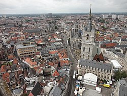 View of Ghent with Belfry of Ghent and Saint Nicholas church visible