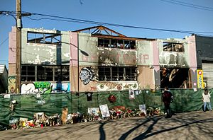 2016 Oakland warehouse fire - Ghost Ship warehouse 20 days after the fire