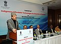Ghulam Nabi Azad addressing at the launch of the Indigenous Affordable Technologies for Detection of Diabetes, in New Delhi. The DG, ICMR and Secretary, Department of Health Research.jpg
