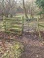 Giat fochyn yng Nghoed Gloddaeth - A kissing gate in Gloddaeth Woods - geograph.org.uk - 1617289.jpg