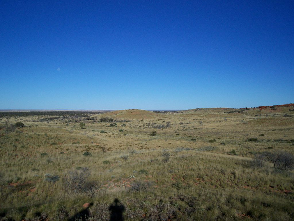Gibson Desert and moon from Alfred & Marie Range
