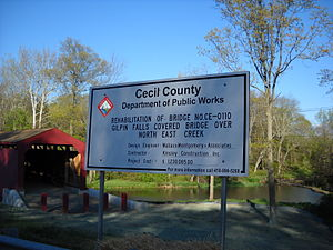 Gilpin's Falls Covered Bridge - Image: Gilpin Falls complete rehab sign