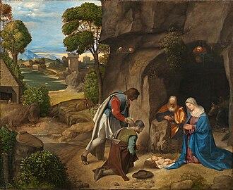 Adoration of the Shepherds (Raphael) - Image: Giorgione Adoration of the Shepherds National Gallery of Art