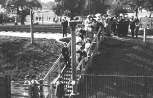 Dollis Hill - Crossing the Dudding Hill Line in late Victorian times, near the eastern end of Dudding Hill station, and at the western end of Gladstone Park