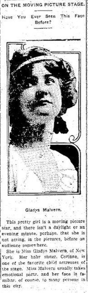 Gladys Malvern - Gladys Malvern in 1910 newspaper article
