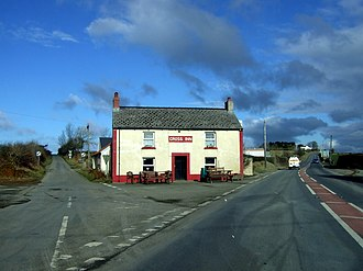A478 road - The Cross Inn at Glandy Cross, looking north, A478 on the right