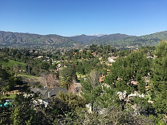 Glendora, California - Glendora with the San Gabriel Mountains in the background as seen from the South Hills