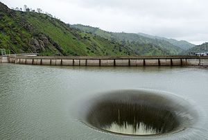 Lake Berryessa - The spillway at Monticello Dam, Lake Berryessa, in operation, February 19, 2017
