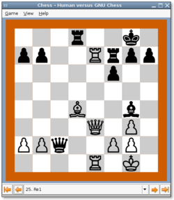 GNU chess visto en Gnome
