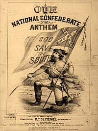 Soldier down on one knee, holding  the  Confederate flag in one hand and a sword in the other.