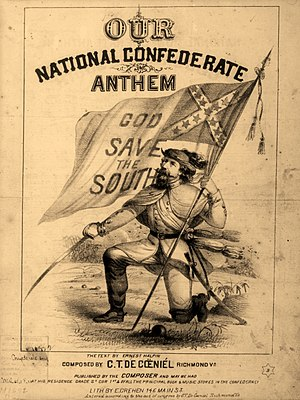 God Save the South - A rare music cover illustration, published by the composer, C. T. De Cœniél, in Richmond, Virginia