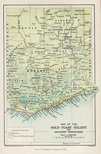 Anglo-Ashanti wars - Map from 1896 of the British Gold Coast Colony showing Ashanti