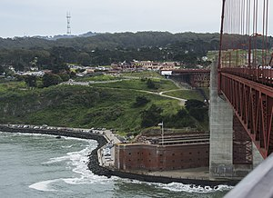 Fort Point, San Francisco - The fort from the Golden Gate Bridge deck