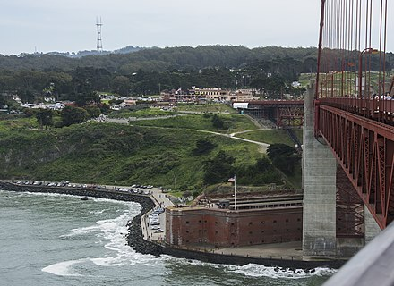 The fort from the Golden Gate Bridge deck