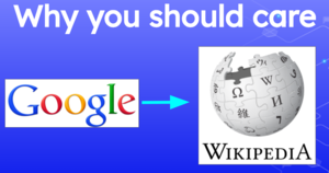 Google logo with arrow pointing to Wikipedia logo, titled Why you should care