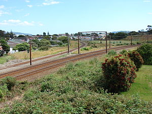Gracefield Branch - The start of the Gracefield Branch, curving off to the left, just south of Woburn station.  The double track curving right is the Wairarapa Line.