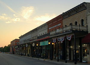 Granbury, Texas - Stores lining the town square at sunset