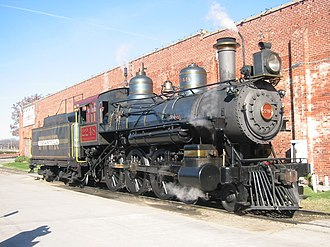 """Grapevine Vintage Railroad - The """"Puffy"""" locomotive at the Stockyards displaying the old Tarantula branding"""