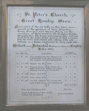 Great Haseley - St. Peter's parish church: framed record of the church's six bells