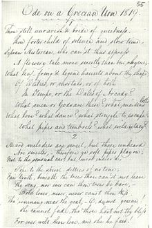 "Manuscript in Keat's hand titled ""Ode on a Grecian Urn 1819."" It is a fair copy in pen and ink of the first two verses of the poem. The writing is highly legible, tall and elegant, with well-formed letters and a marked slope to the right. The capital letters are distinctive and artistically formed. Even-numbered lines are indented with lines 7 and 10 are further indented. A scallopy line is drawn beneath the heading and between the verses."