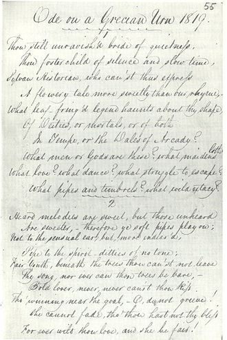 1820 in poetry - First known copy of John Keats' Ode on a Grecian Urn, transcribed by George Keats this year