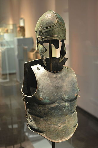 Muscle cuirass - Greek bronze panoply with muscle cuirass from Southern Italy, 340–330 BC.