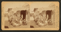Group of natives eating poi (in front of thatched hut), Hawaiian Islands, by Strohmeyer & Wyman.png