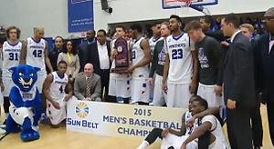 2014–15 Georgia State Panthers men's basketball team - Georgia State celebrating winning the regular season Sun Belt basketball title in spring 2015