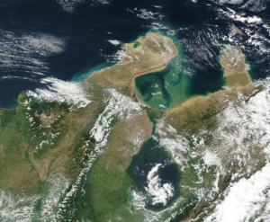 Gulf of Venezuela - The Guajira Peninsula (left) and the Gulf of Venezuela (center) located south of the Caribbean sea.