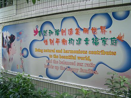 A wall along a residential lane in Guangzhou, China with family planning posters stressing the importance of balanced sex-ratios, in order to prevent sex-selective abortion Guangzhou-family-planning-posters-0532.jpg