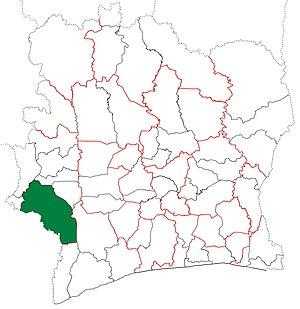 Guiglo Department - Image: Guiglo Department locator map Côte d'Ivoire (1998 2000)