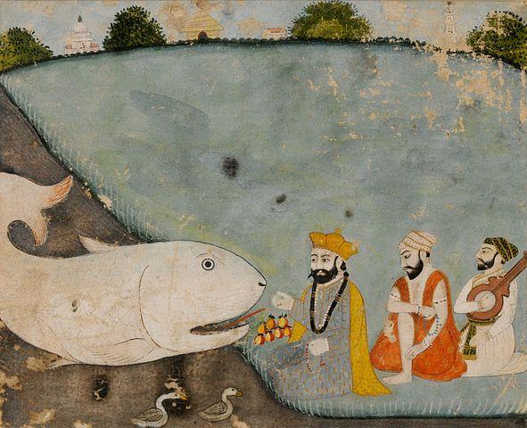 https://upload.wikimedia.org/wikipedia/commons/thumb/e/ea/Guru_Nanak_with_Bala%2C_Mardana_and_the_great_fish_%28Vishnu_in_Matsyavatara%29_-_Unknown%2C_Sikh_School_-_Google_Cultural_Institute.jpg/591px-Guru_Nanak_with_Bala%2C_Mardana_and_the_great_fish_%28Vishnu_in_Matsyavatara%29_-_Unknown%2C_Sikh_School_-_Google_Cultural_Institute.jpg