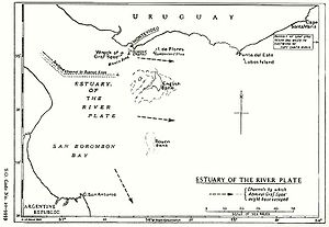 Battle of the River Plate - Map of the River Plate showing possible exit channels.